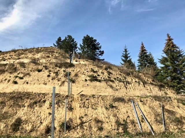 Schafzaun-Bau auf steilem Gelände
