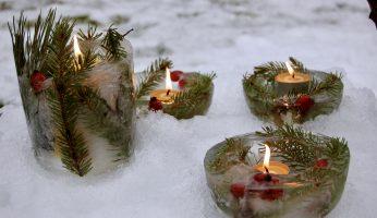 fertige winterliche Eislichter