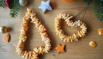 Weihnachtsschmuck aus Orangenschalen