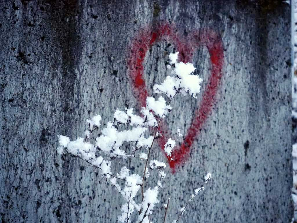 winterliches Graffiti-Herz