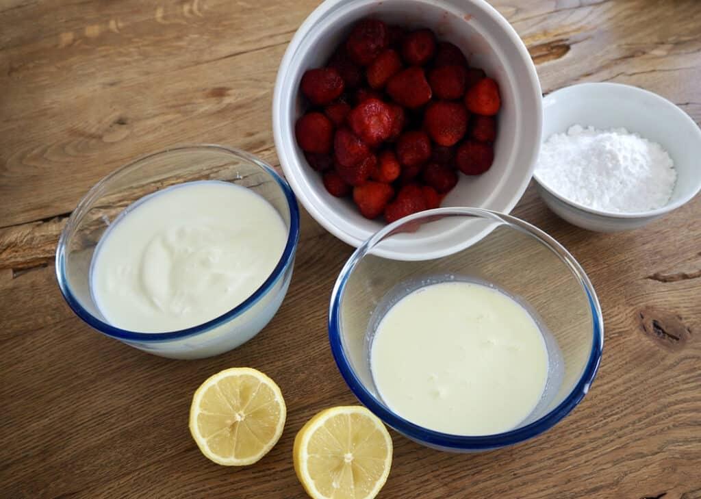 Zutaten für Erdbeerparfait