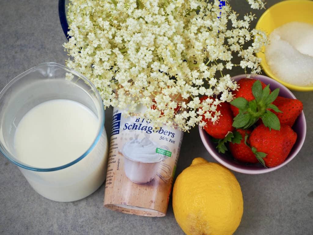 Zutaten für Holunderblüten-Panna-Cotta